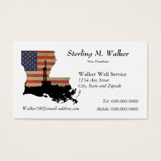 Louisiana Patriotic Oil Drilling Rig Business Card
