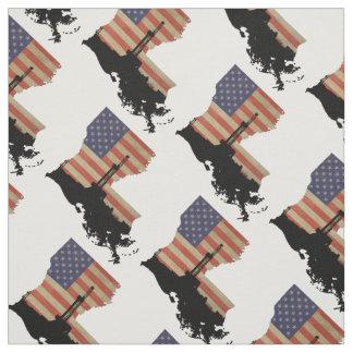 Louisiana Patriotic Oil Drilling Rig Fabric