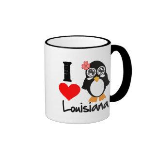 Louisiana Penguin - I Love Louisiana Ringer Mug