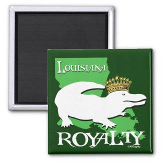 Louisiana Royalty (white gator) Square Magnet