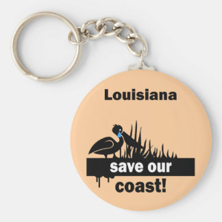 Louisiana save our coast basic round button key ring