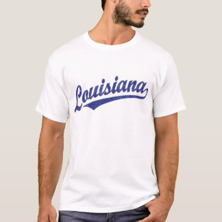 Louisiana script logo in blue distressed T-Shirt