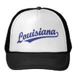 Louisiana script logo in blue mesh hat