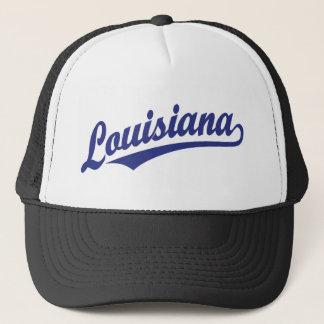 Louisiana script logo in blue trucker hat