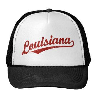 Louisiana script logo in red distressed cap