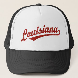 Louisiana script logo in red distressed trucker hat