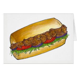 Louisiana Shrimp Po'Boy Canjun Food Sandwich Card