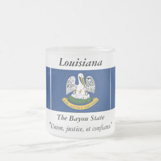 Louisiana State Flag Frosted Glass Coffee Mug