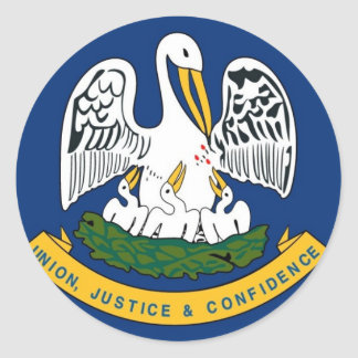 Louisiana State Flag Round Sticker