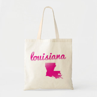 Louisiana state in pink tote bag