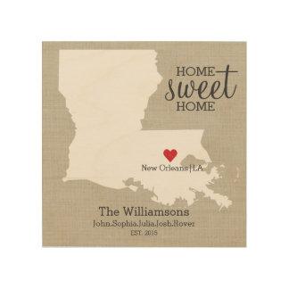 Louisiana State Map Custom Family Name Established Wood Wall Decor