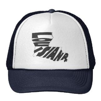 Louisiana State Name Word Art Black Trucker Hat