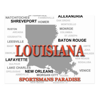 Louisiana State Pride Map Silhouette Post Card