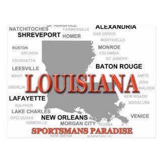 Louisiana State Pride Map Silhouette Postcard