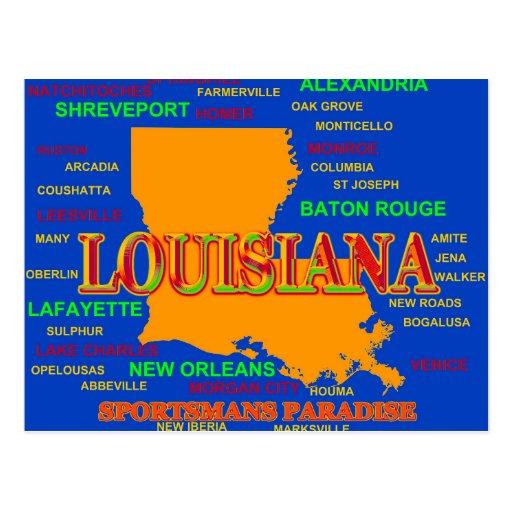 Louisiana State Pride Map Silhouette Postcards