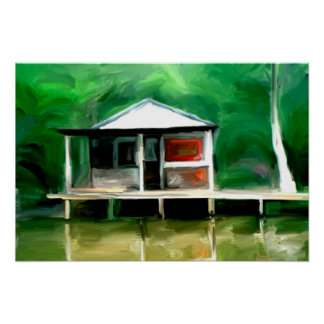 Louisiana Swamp Cottage Poster