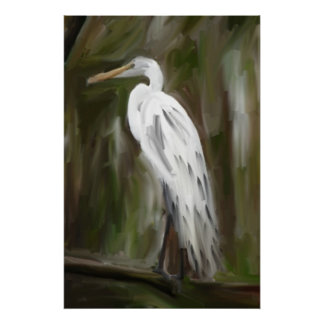 Louisiana Swamp Crane Poster
