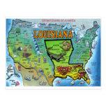 Louisiana USA Map Postcard