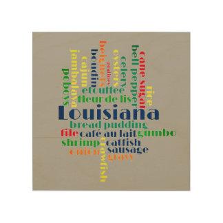 Louisiana Word Cloud IMPROVED Wood Print