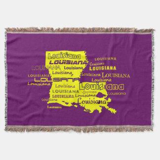 Louisiana Yellow State Purple Font Background Throw Blanket