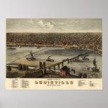 Louisville Kentucky 1876 Antique Panoramic Map Poster