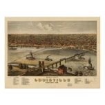 Louisville Kentucky 1876 Panoramic Map Poster