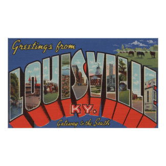 Louisville, Kentucky - Large Letter Scenes Poster