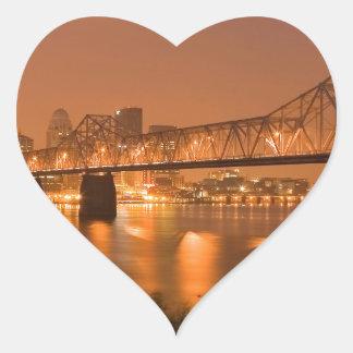 Louisville Kentucky Night Lights Bridge Ohio River Heart Sticker