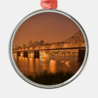 Louisville Kentucky Night Lights Bridge Ohio River Silver-Colored Round Decoration