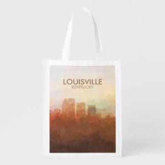 Louisville, Kentucky Skyline IN CLOUDS Reusable Grocery Bag