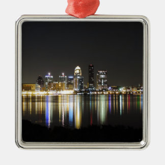 Louisville skyline at night christmas ornament