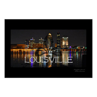 Louisville Skyline Poster with Fleur de Lis