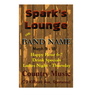 Lounge, Bar Tavern Live Music 14 Cm X 21.5 Cm Flyer