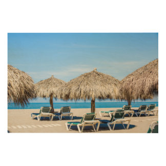 Lounge Chairs And Thatch Umbrellas On Beach Wood Wall Decor