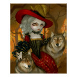 Loup-Garou: d'Automne - gothic rococo wolf Print