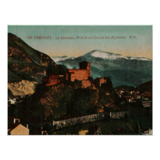 Lourdes Fort Chateau France postcard 1910 approx Poster