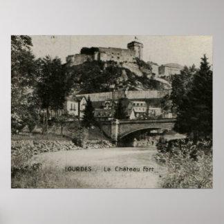 Lourdes Fort Chateau France postcard Poster