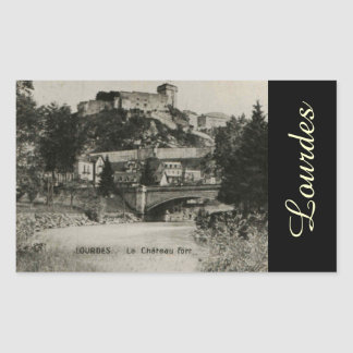 Lourdes Fort Chateau France postcard Rectangular Sticker