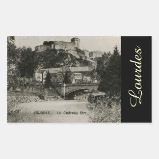 Lourdes Fort Chateau France postcard Rectangular Sticker