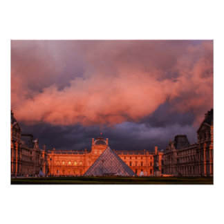 Louvre in sunset poster