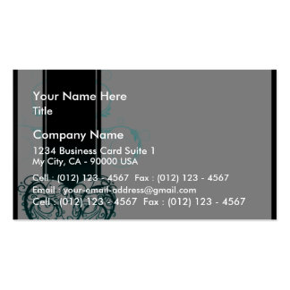 Lovable floral heart and aqua blue swirls pack of standard business cards