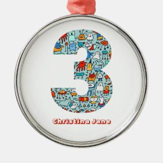 Lovable Little Monsters Number 3 Custom Ornament