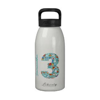 Lovable Little Monsters Number 3 Water Bottle