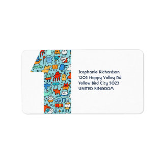Lovable Little Monsters Number One Address Labels
