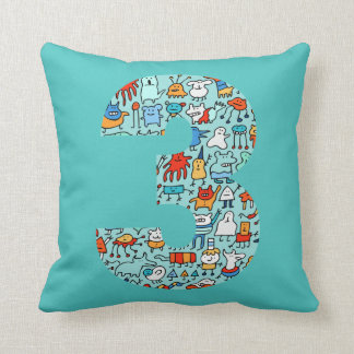 Lovable Little Monsters Number Three Pillow Throw Cushion