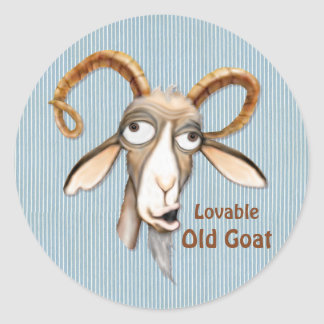 Lovable Old Goat Round Sticker