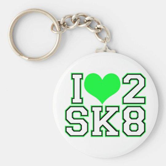 Love2SK8-Black & Lime Basic Round Button Key Ring