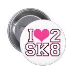 Love2SK8 - Black & Pink 6 Cm Round Badge