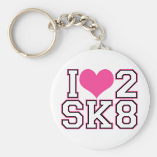 Love2SK8 - Black & Pink Basic Round Button Key Ring