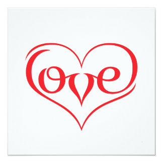 LOVE ♥ 02 ♥ Standard white envelopes 13 Cm X 13 Cm Square Invitation Card